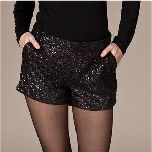 La Cite Black Sequined Shorts Size XS